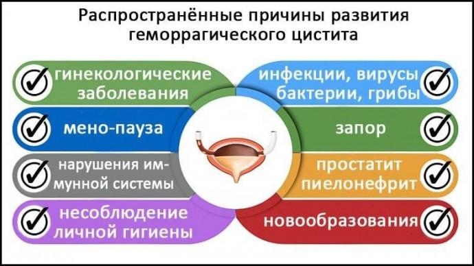 Распространенные причины развития геморрагического цистита